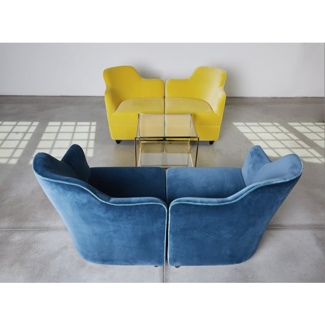 Blue Angolo Seating Group by Corrado Corradi Dell'Acqua for Tato For Sale - Image 8 of 9