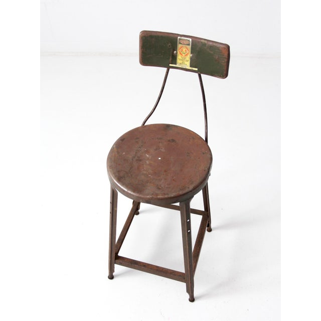 Mid 20th Century Vintage Industrial Drafting Stool For Sale - Image 5 of 12