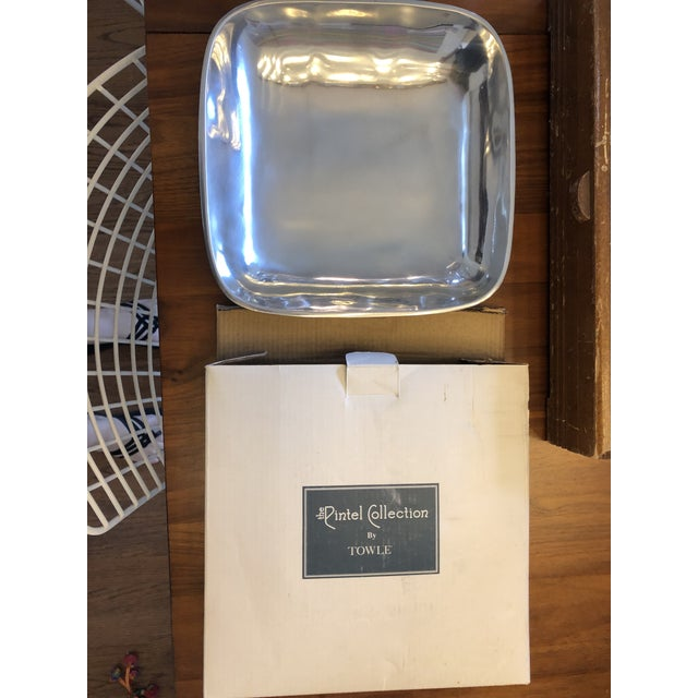 Contemporary Vintage Square Contemporary Silver Bowl From Towle Silversmiths With Original Box For Sale - Image 3 of 3