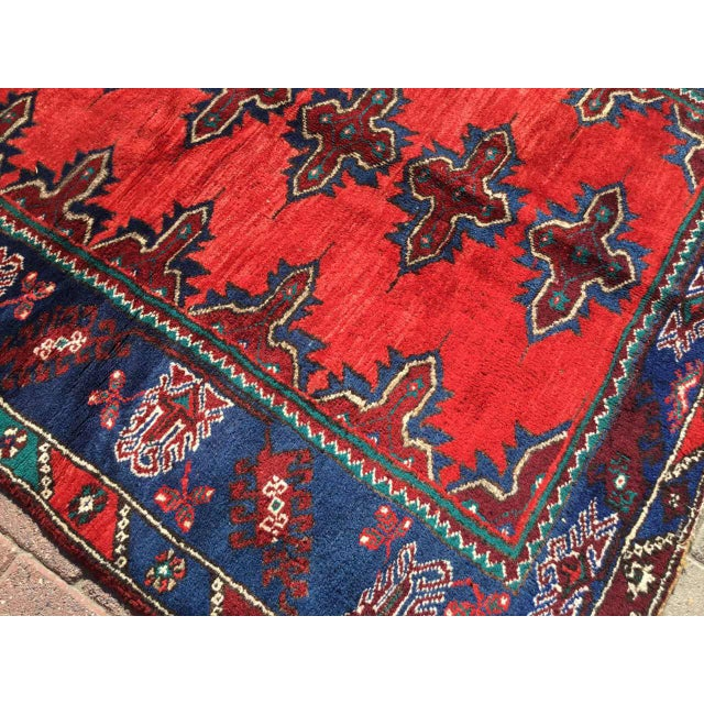 Red & Navy Vintage Hand Knotted Turkish Rug For Sale - Image 4 of 9