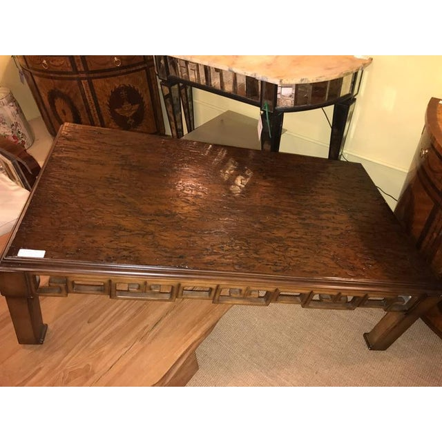 Wood Asian Style and Greek Key Combo Cocktail Table For Sale - Image 7 of 8