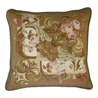Antique 19th Century French Aubusson Tapestry Pillow - 23'' X 22'' For Sale