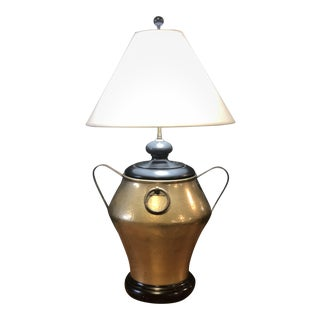 Solid Brass Handled Lamp With Ebony Base For Sale
