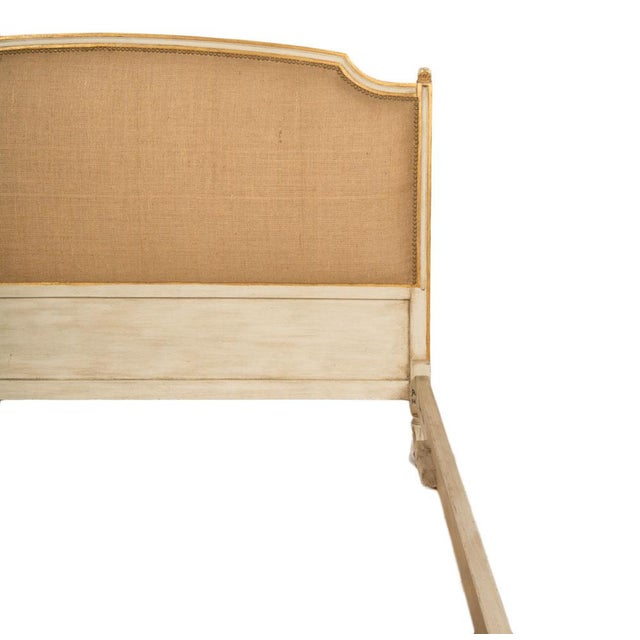 1940s French Louis XVI Style Painted Burlap Queen Bed For Sale In Philadelphia - Image 6 of 8