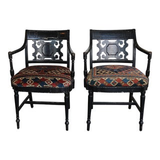 Vintage Chippendale Style Chairs Upholstered in Antique Rugs - a Pair For Sale