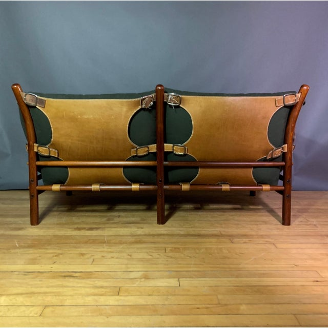 """Arne Norell """"Ilona"""" Leather and Cotton Sofa, Sweden 1970s For Sale - Image 10 of 13"""