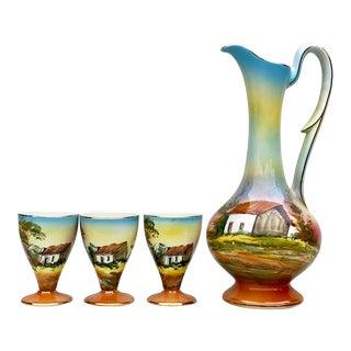 Vintage Farmhouse Loucarte Portugal Porcelain Ewer Pitcher W/ 3 Goblets For Sale