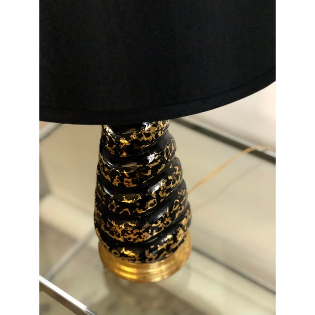 Midcentury Black and Gold Crackle Glazed Lamp For Sale In Atlanta - Image 6 of 9