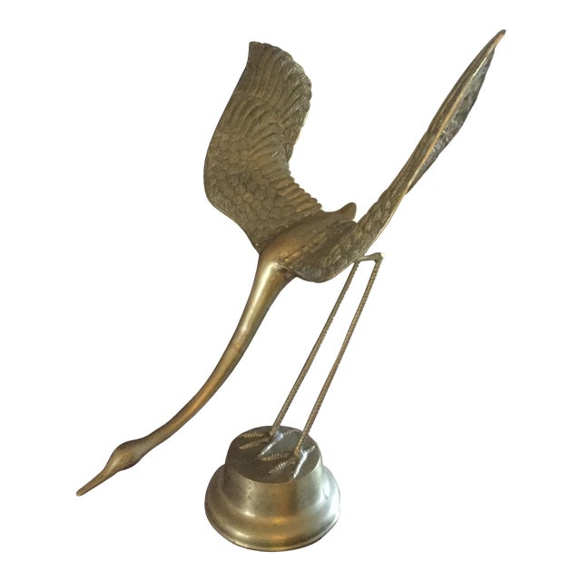 Large Brass Crane With Wings Up - Image 1 of 6