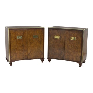 Campaign Style Burl Wood Cabinets or Nightstands - A Pair For Sale