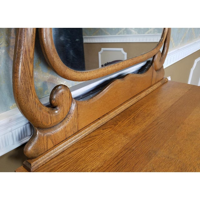 Antique Victorian Quartered Oak Dresser & Mirror - Image 8 of 9