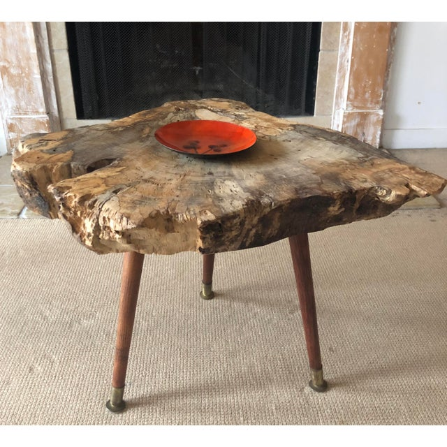 Live Edge Coffee Table Burl Wood Mid Century Style For Sale - Image 9 of 11