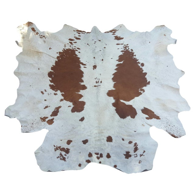 Brown and Cream Cowhide Rug - 4′6″ × 5′ - Image 1 of 3