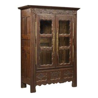 1800s Antique French Henri II Style Carved Oak Armoire For Sale