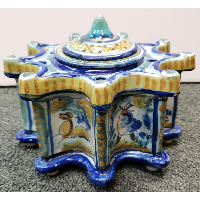 Circa 1900 Spanish Talavera Faience Pottery Inkwell For Sale - Image 4 of 11