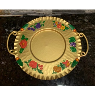 Vintage Cromwell Handcrafted Hammered Aluminum Gold Platter With Painted Flowers Preview