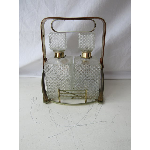 Antique Clear Glass Decanter Set in Stand With Handle For Sale In West Palm - Image 6 of 8