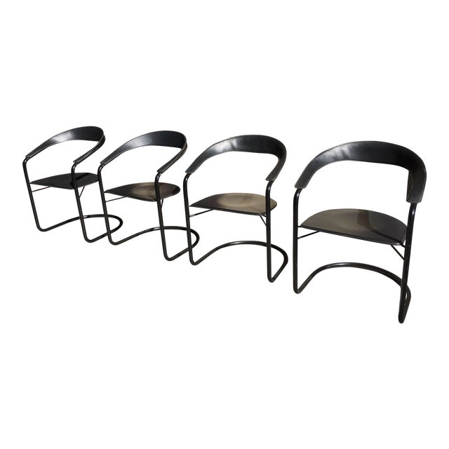 Stendig Mid Century Modern Leather Tubular Armchairs - Set of 4 For Sale