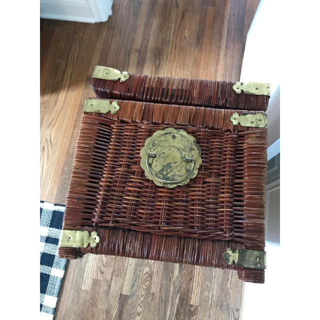 Vintage Brass and Wicker Trunk For Sale - Image 9 of 10