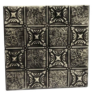 Vintage Mixed Pattern Black Tin Panel For Sale
