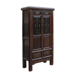Chinese Distressed Brown Floral Motif Storage Cabinet Preview