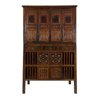 Antique Chinese Kitchen Cabinet/Entertainment Center - 2 Pc. For Sale