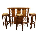 Image of Late 19th Century Vintage Rattan and Wood Bar Set- 4 Pieces For Sale