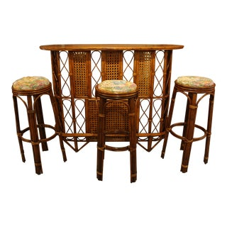 Late 19th Century Vintage Rattan and Wood Bar Set- 4 Pieces For Sale