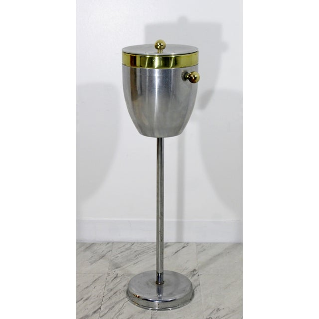 Art Deco Art Deco Aluminum and Brass Standing Champagne Ice Cooler For Sale - Image 3 of 10