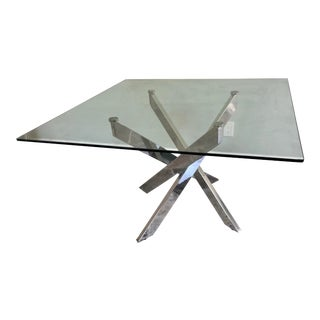 Modern Designer Architectural Chrome & Glass Top Dining Table For Sale