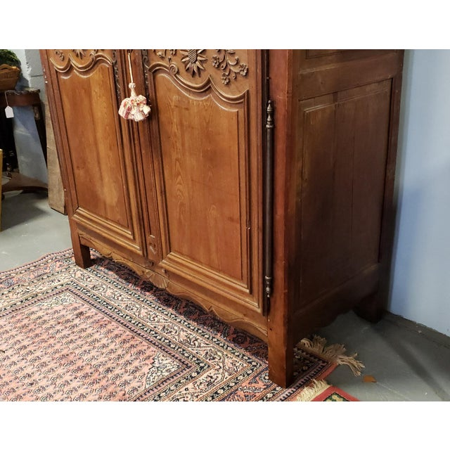 Metal Antique 18th Century French Normandy Country Double Door Wedding Armoire Cabinet C1790 For Sale - Image 7 of 13