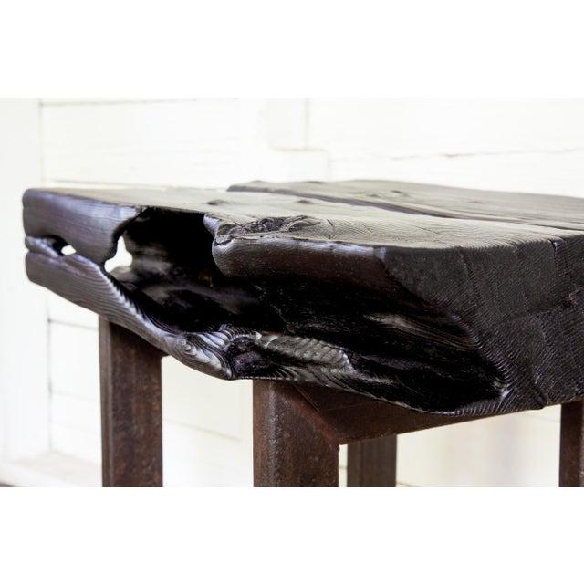 Asian Modern Yakisugi Wood and Metal Side End Table For Sale - Image 4 of 13