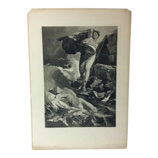 "Vintage Print on Paper, ""The Fallen"" by Ferenand Keller, Circa 1900 For Sale"