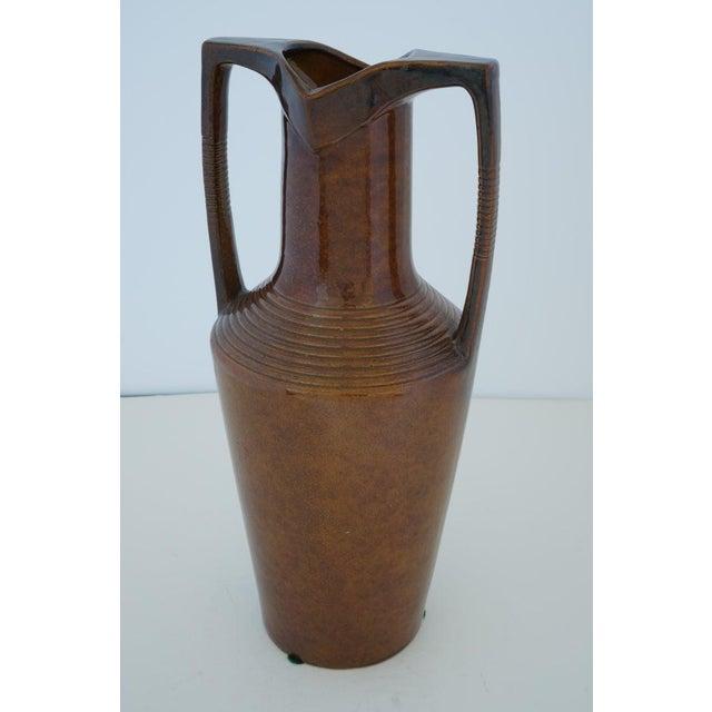 Vintage Art Deco 1920s Egyptian Revival Handled Jug Urn Vase Glazed Ceramic For Sale - Image 9 of 9