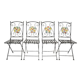 Wrought Iron Mosaic Tile Folding Garden Dining Chairs - Set of 4