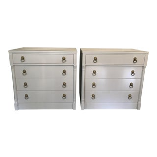 Vintage RWAY Gray Lacquered Chest of Drawers - A Pair