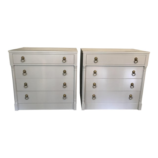 Vintage Rway Gray Lacquered Lion's Head Chest of Drawers - a Pair - Image 1 of 11