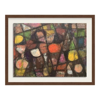 """1962 """"Flowers Blooming"""" Mid Century Encaustic Oil Paint Abstract Nyc Artist For Sale"""