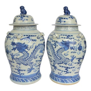 Large Chinoiserie Blue and White Dancing Dragon Ginger Jars, a Pair For Sale