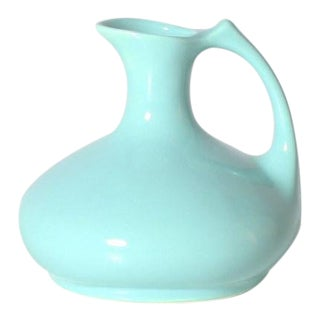 Aqua Ceramic Pitcher, C. 1960 For Sale