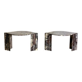 1970s Italian Sculptural Marble Side Tables - a Pair For Sale