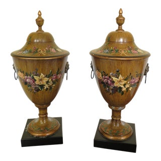 Paint Decorated Toleware Decorative Urns - a Pair For Sale