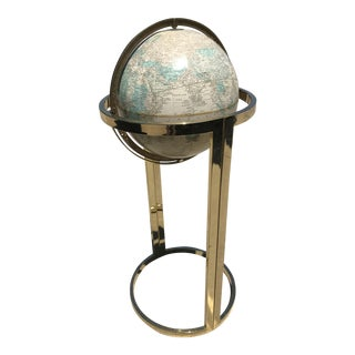 1980s Mid-Century Modern Cram's Imperial World Globe on Brass Floor Stand