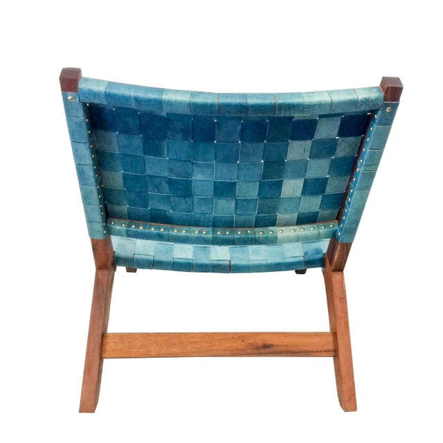 Woven Recylced Leather Lounge Chair Blue - Image 3 of 8
