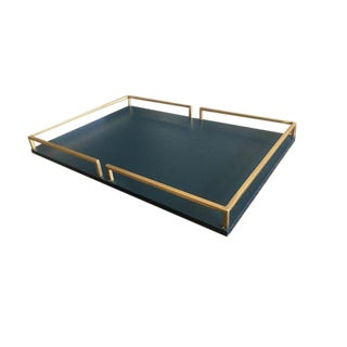 Brass & Navy Wood Tray For Sale