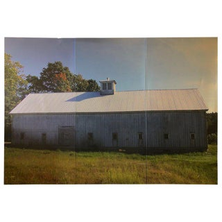 Photograph in Dramatic Large Size Triptych of New England Barn in Early Autumn For Sale