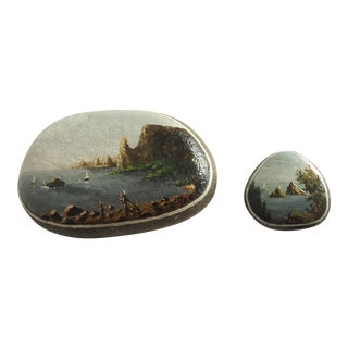 Vintage European Seascape Paintings on Rocks - A Pair