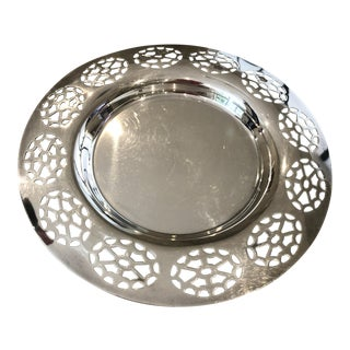 Pierced Silver-Plated Bottle Coaster For Sale