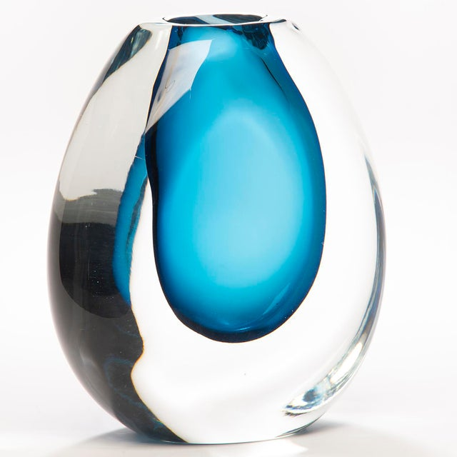 Tall Blue Sommerso Art Glass Vase For Sale In Detroit - Image 6 of 12