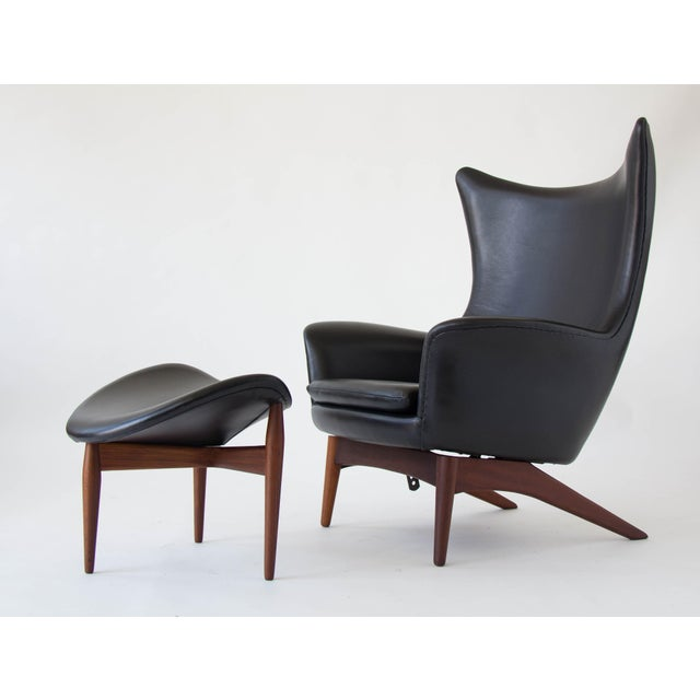 H.W. Klein Leather Reclining Lounge with Ottoman - Image 3 of 11